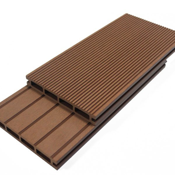 Cherry brown composite decking boards wood plastic for Plastic decking boards